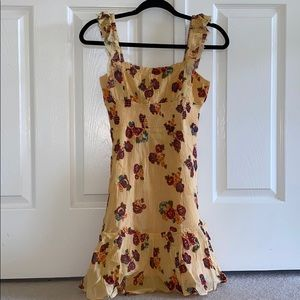 BNWT UO Yellow Floral Festival Ruffle Dress
